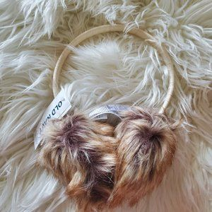 Old Navy White Brown Fuzzy Ear Muffs